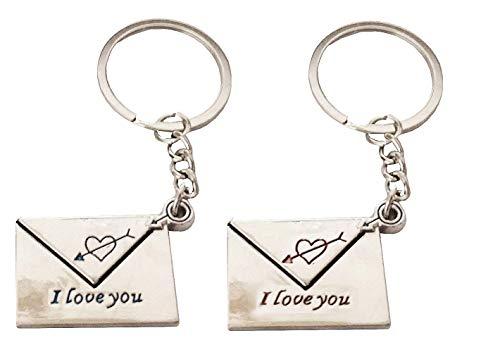 1 partij van twee sleutelhangers met hanger in de vorm van briefenveloppen met iyou-schrift - cadeau-idee i love you