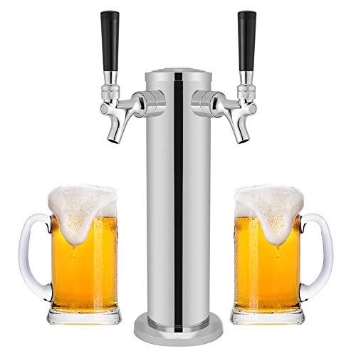 Spillatore Birra, Torre della birra alla spina in acciaio inossidabile, Big Dispenser Double, Dispensazione della torre della birra Dual Taps, Bere Rubinetto Chrome per uso in casa Bar Pub