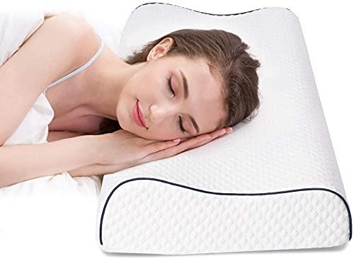Almohada de Espuma con Memoria Ajustable en Altura 60 x 35 cm, Almohada ortopédica de Apoyo Cervical, Almohada para Dormir de Espuma de Gel viscoelástica, Se, Almohada para el Dolor de Cuello Blanco