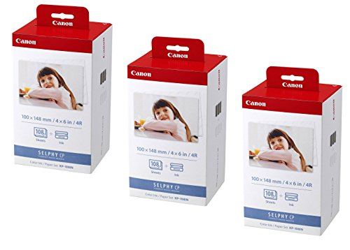 3X Original Canon Multipack KP-108IN KP108IN für Canon Selphy CP 800-100x148mm, 108 Blatt, 3X Kartusche Farbig -