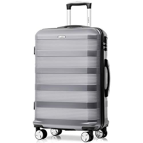 Flieks Reisekoffer Kofferset Hartschale 4 Zwillingsrollen Trolleys Gepäck Koffer Handgepäck, 61,5cm, 35 Liter (Silber, M)