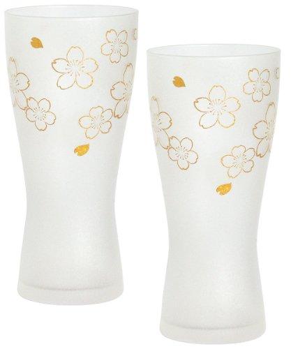 アデリア ビールグラス ゴールド 310ml プレミアムニッポンテイスト桜 ビアグラス(泡づくり機能付) ペアギフト 日本製 S6006