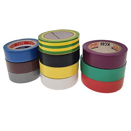 TSKDKIT 10 Stück 10m Isolierband Farbiges Klebeband 15mm Isolierbänder Klebeband Bunt Isolieren Bänder Klebebänder zum Basteln