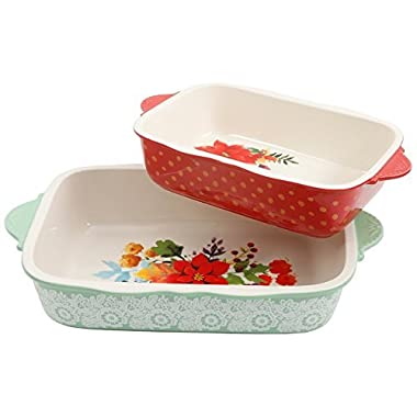 The Pioneer Woman 2- Piece Frost Bakeware Set, Green with White Frost 3.1 Qt & Red with Yellow Polka Dots 2.1 Qt, Dishwasher & Oven Safe