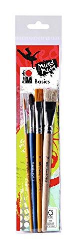 Marabu 0184000000202 - Pinselset Basics, Robust-Pinsel für Acrylfarben und -pasten, Universalpinsel für Acrylmalerie und Forte Pinsel für Pasten und Gele, 4 Pinsel in den Größen 16, 14, 8 und 6