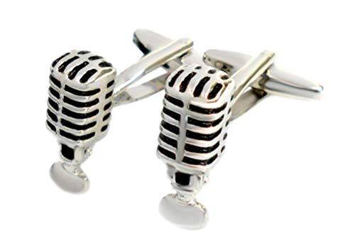 Unbekannt Mikro Manschettenknöpfe Mikrofon Retro silbern glänzend + schwarz gelackt + Geschenkbox schwarz