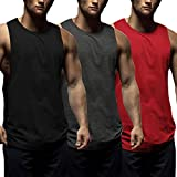 COOFANDY Mens Workout Tank Tops 3 Pack Sleeveless Shirts Gym Bodybuilding Muscle Tee Shirts (Dark...