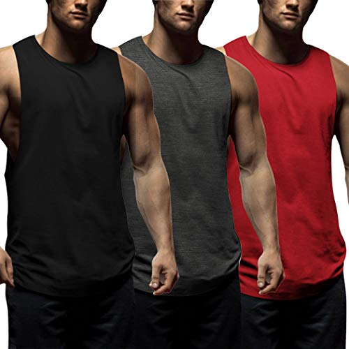 COOFANDY Mens Workout Tank Tops 3 Pack Sleeveless Shirts Gym Bodybuilding Muscle Tee Shirts (Dark Grey/Black/Red, Medium)