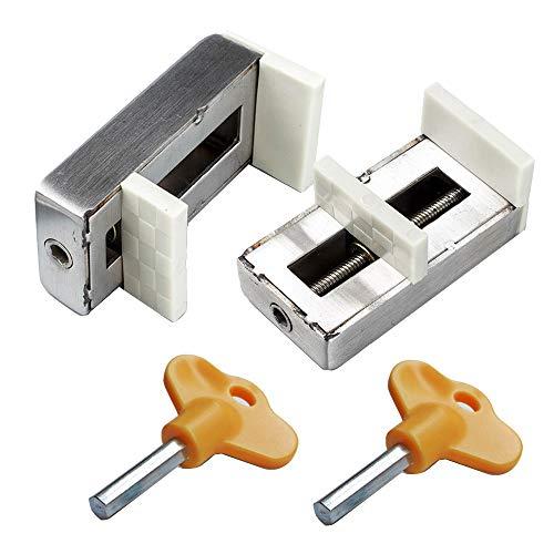 Pack de 2 cerraduras correderas para ventanas con tapón de seguridad para puerta de seguridad de acero antirrobo