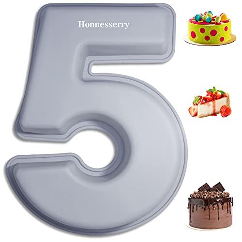 Silikon Zahlen Kuchenformen groß für Geburtstag Hochzeitstag, Backformen 0-9 DIY Zahl Backen Kuchenform Werkzeuge, spezielle neuartige DIY Formen 3D Zahlen Kuchenform Nummer 5