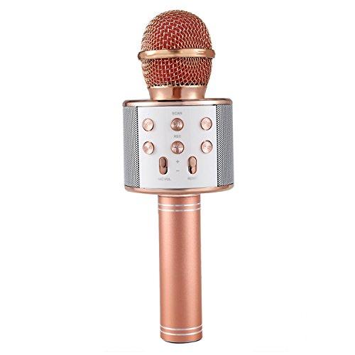 SODIAL Wireless Microfono Karaoke Bluetooth portatile mini KTV casa per la musica suonando e cantando altoparlante del giocatore selfie PC del telefono Oro rosa