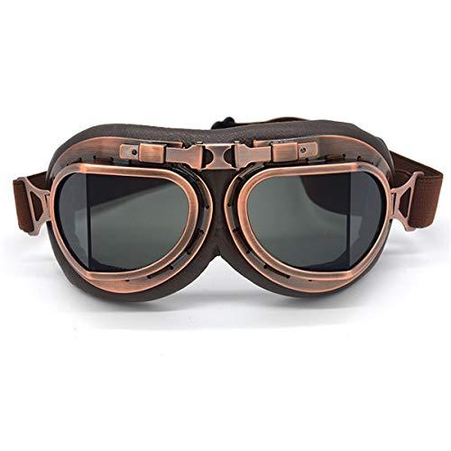 Gafas de Sol Retro for Moto, Gafas de Aviador Steampunk, Vintage, ATV, Moto Motera, Cruiser, Casco Jet, Ciclismo y esquí (Color : Smoke Lens)