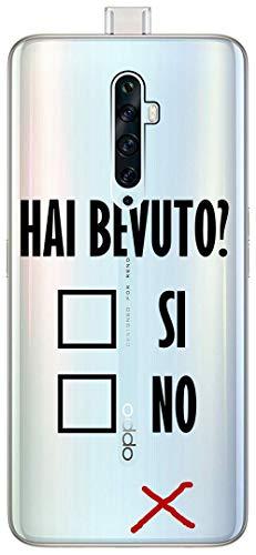 Mixroom - Cover Custodia Case in TPU Silicone Morbida Sfondo Trasparente per Oppo Reno 2Z Fantasia Alcool Test T452