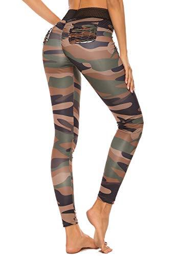 FITTOO Leggings Mallas Mujer Pantalones Deportivos Yoga Alta Cintura Elásticos y Transpirables Pant Verte Chica
