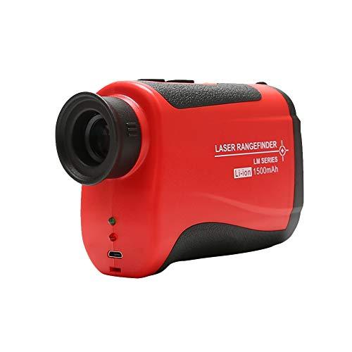 Cocoarm Entfernungsmesser Lasermessgerät 7 fache Vergrößerung Entfernungsmesser Sport Rangefinder Winkelmesser Abstandsmessung 4~600m Geschwindigkeitsmessung 0-300 km/h(Rot)