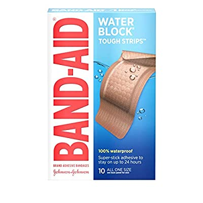 Band-Aid Brand Water Block Tough Strips Adhesive Bandages for First Aid Wound Care, Durable Waterproof Protection for Minor Cuts and Scrapes, Extra Large, 10 ct (Pack of 6)