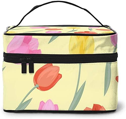 Tulipán flor en jarrón (3) diseño grande bolsa de maquillaje para mujer portátil estuche cosmético organizador de viaje con cremallera de malla cepillo bolsillo aseo con asa chica