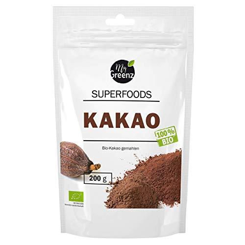 MyGreenz - Bio Kakao Pulver - Kakao-Bohnen aus Peru | Rohkost-Qualität | reich an Magnesium, Calcium, Eisen, Zink & Antioxidantien | intensiver Geschmack | 100% reines Kakaopulver ohne Zusätze | 200g