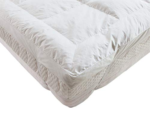 Lancashire Bedding Goose Feather and Down 5 cm Deep Mattress Topper with a 230 Thread Count Casing - Single, Small Double, Double