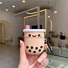 JCMY AirPods Case Cover, Casual AirPods Accessories Series, Cute Kawaii Cartoon Design, Shock & Scratch-Resistant Silicone Protective Cover Skin with Carabiner for Girls Teens Women (Bubble Milk Tea)