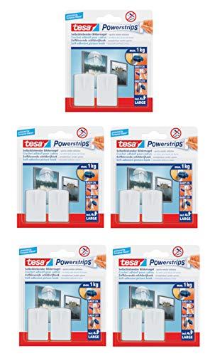 tesa Powerstrips Bildernagel, selbstklebend (10 Stück, Weiß)