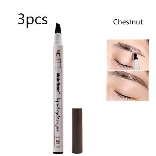 ZHAO YELONG 4 Conseils Tattoo Liquide Crayon À Sourcils avec Longue Durée Pen Sourcils Imperméable for Le Maquillage Naturel Sourcils Marron 3 Pièces (Color : Chestnut)