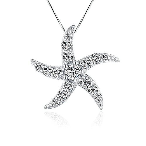 LGSY Sterling Sivler CZ Starfish Pendant Charm for Women DIY Craft Jewelry Making