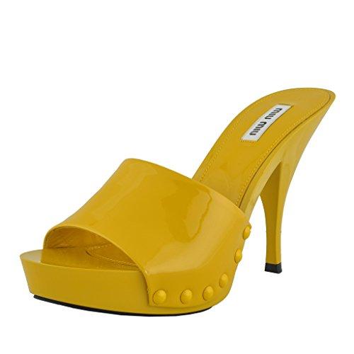 Miu Miu Women's Leather Yellow Open Toe High Heels Shoes US 5...
