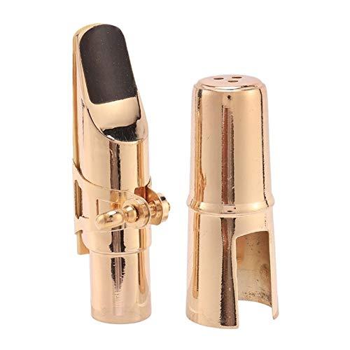 XIAOFANG Goldenes Alto Sax Saxophon Mundstück mit Mütze und Ligature Musikinstrumente Parts (Color : Gold)