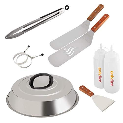 Onlyfire FPA-5117 Professionelles BBQ Grillspachtel Set Grillwender Ideal für Plancha Kochplatte, mit einem 30,5cm Schmelzdom, 9 Stück