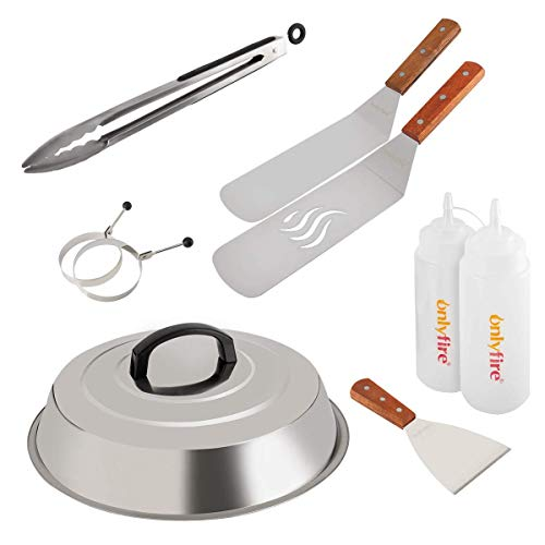 onlyfire Professional BBQ Griddle Tool Kit Great for Grill Griddle Flat Top Cooking Camping, with One 12' Melting Dome, 9 pcs