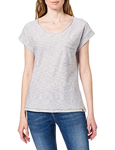Camel Active Womenswear 3096265S79 Camiseta, Color Verde y Blanco, XL para Mujer