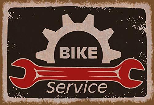 FS Bike Service - Targhetta in metallo bombata per officina, garage, 20 x 30 cm