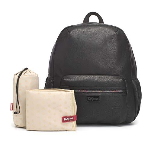 Babymel BM4492 Luna Vegan Leather Diaper Travel Backpack Large Capacity, Vegan Black