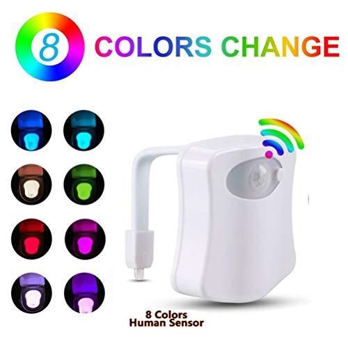 Surenhap Lampe de Toilette 8 Couleurs Body Sensing Automatique LED Toilette Bol Salle De Bains Lumière