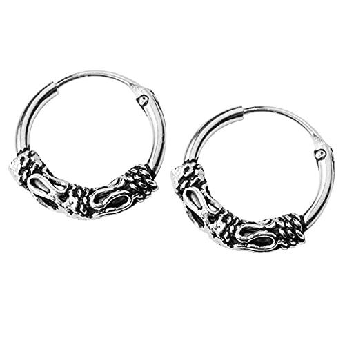 Boho Bali Filigrana Vintage S925 Steling Silver Endless Round Sleeper Pendientes de aro pequeños para mujeres hombres y niñas de moda Huggie Hoops hipoalergénico Pierced Jewelry Regalos 12mm