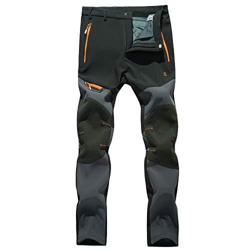 LHHMZ Męskie spodnie softshellowe z polarową podszewką, na wędrówki, do aktywności na świeżym powietrzu, wodoszczelne, oddychające, zimowe, ciepłe spodnie do chodzenia