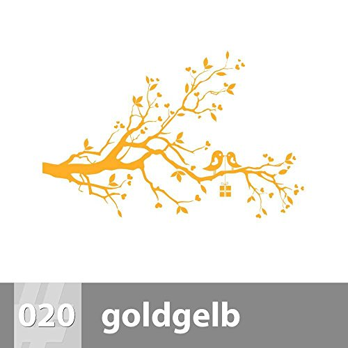 premiumsticker24 Vögel auf AST Wandtattoo 88cm x 57cm, L, 020 goldgelb