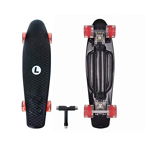 Landwalker 22' Complete Skateboard Banana Cruiser Galaxy Skateboards Boys Girls Kids Board(Skull/Dull-red Wheel)