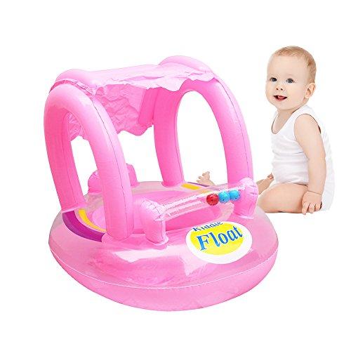 per Flotadores de Flotadores Bebés Hinchables Infantiles Anillos de Natación con Sombrillas Flotadores para Bebés de Playa o Piscina (Rosa)
