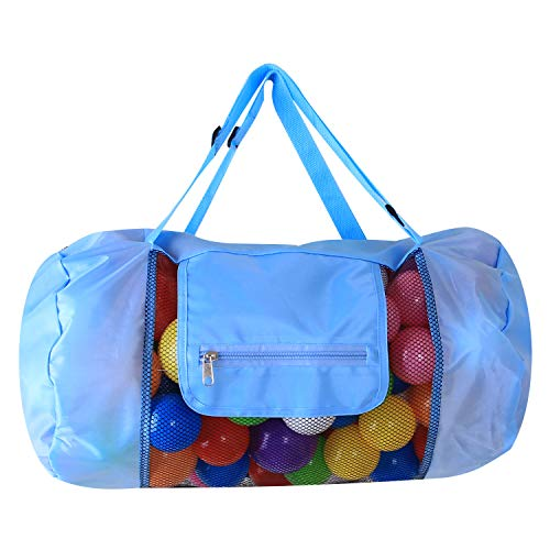 Lyanther Mesh Beach Bag Foldable Backpack Storage Bags with Zipper Top for Pool Boat Soccer Ball Water Sports Swimming Gears (B Blue)