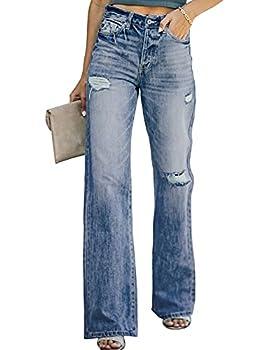 Sidefeel Women High Waist 90'S Flare Denim Jeans Wide Leg Pants Small Blue