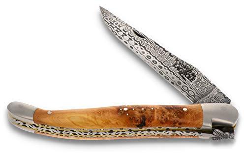 Forge De Laguiole Collection Taschenmesser - 12 cm - Griff Wacholder - Doppelplatine - Klinge Damaststahl 10 cm - Backen matt