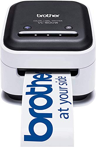 Brother VC-500W Stampante di Etichette a Colori con Tecnologia ZINK Zero Ink, Connettività USB e wireless. Bianco Nero