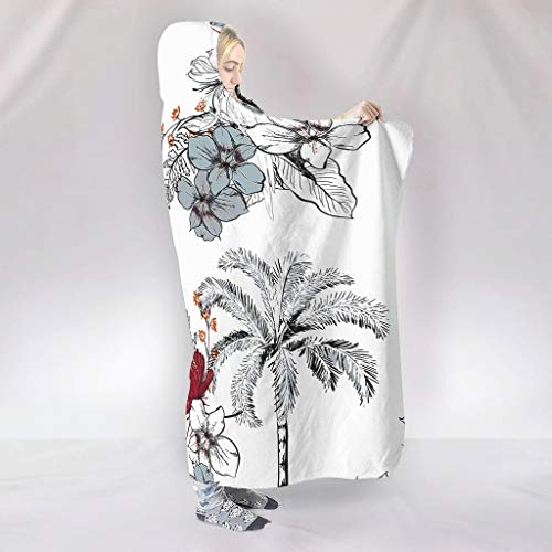 BOBONC ThemeWearable Hooded Blanket Microfaser Soft-Mantel Schlafdecke Wohndecke Computer Fleecedecke Für Kinder White 130x150cm