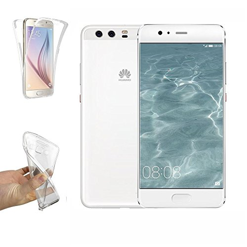 REY Funda Carcasa Gel Transparente Doble 360º para Huawei P10 Plus, Ultra Fina 0,33mm, Silicona TPU de Alta Resistencia y Flexibilidad