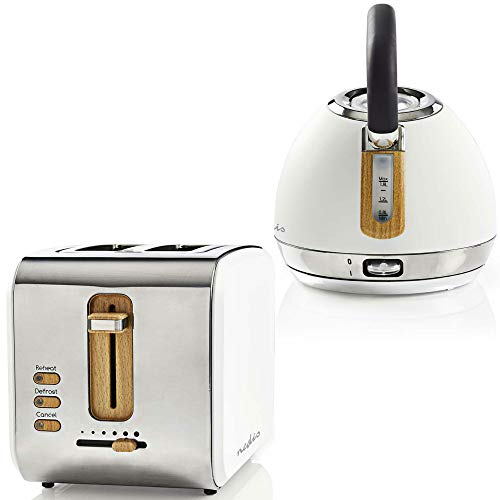 TronicXL Retro Design Frühstücksset Toaster + Wasserkocher Holz Design + Edelstahl weiß silber
