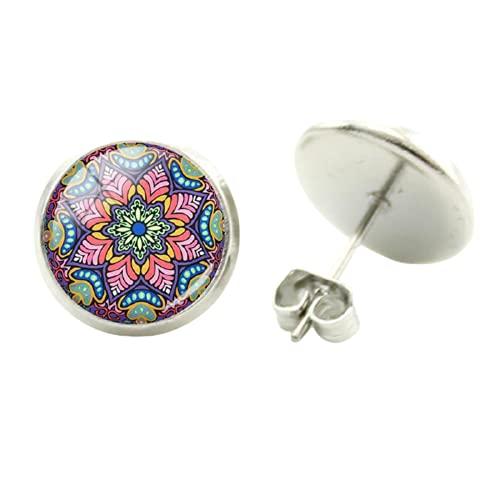 Pendientes de mandala vintage hippie con pompón bohemio Paisley meditación, flor pendiente de moda