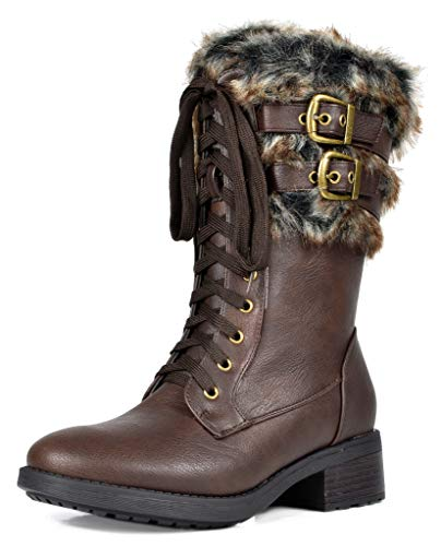 DREAM PAIRS Women's Foxy Brown Faux Fur Mid Calf Riding Combat Boots Size 5.5 M US
