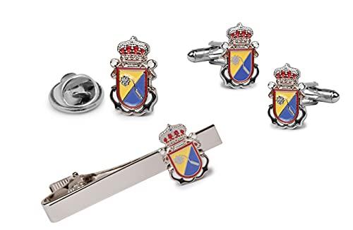 Gemelolandia   Pack Completo Escudo de la desaparecida Unidad de Operaciones Especiales 18 x 12 mm   Pack contiene: 1 pasador, 1 par Gemelos y 1 Pin   Pack de color plateado